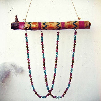 Bohemian Driftwood Sun Catcher Mobile  - Crystal Suncatcher - Boho Hippie Decor - Gypsy Home Decor - Beaded Suncatcher -Boho  Windchime