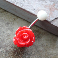 Red Rose Flower Belly Button Jewelry Ring