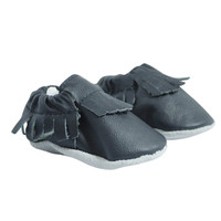 Baby Neutral Frayed Moccasins in Black