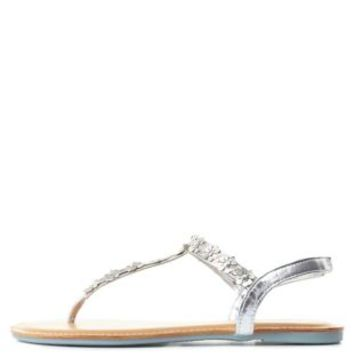 Bamboo Flower-Studded T-Strap Thong Sandals
