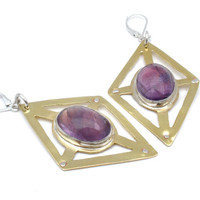 Geometric Earrings- Amethyst and Mixed Metal Leverback Earrings- Natural Purple Amethyst, Riveted Brass, and Silver- Amethyst Earrings