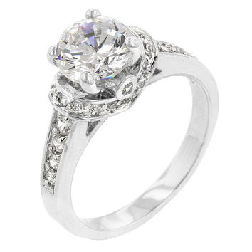 Cubic Zirconia Engagement Ring ~ Round Anniversary Ring - Wedding Ring - Promise Ring
