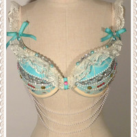 """34C Push Up Lace  Rave and Festival Bra   """" Vintage Romance"""" ONE OF A KIND"""