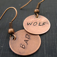Bad Wolf Earrings -  Hand Stamped Copper Doctor Who Jewelry - customizable