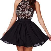Sexy Womens Black Floral Lace Open Back with Cross Straps Party Skater Dress