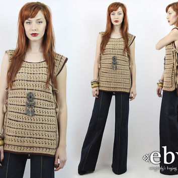 Vintage 70s Tan Crochet Knit Tunic Top S M L Hippie Top Hippy Top Boho Top Crochet Top 70s Tunic Crochet Tunic Apron Top