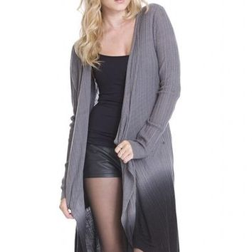 Ombre Dip Dye Long Open Conrad Cardigan Sweater by One Grey Day