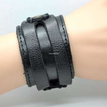 Soft Black Leather Women Leather Jewelry Bangle Cuff Bracelet Men Leather Bracelet  1533A