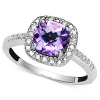 Victoria Townsend Sterling Silver Ring, Purple Amethyst (1-1/4 ct. t.w.) and Diamond (1/10 ct. t.w.)   macys.com