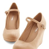 ModCloth Minimal Who Neutral? Wedge in Tan
