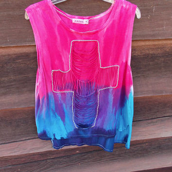 Cross Cut Out Hand Dyed Ombre Tank Top