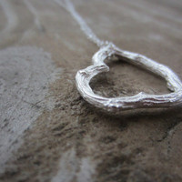 Silver Heart Necklace, Sterling Silver Twig Heart Necklace