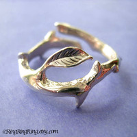 925 Thorn with leaf ring jewelry  Solid sterling by RingRingRing
