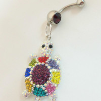 Belly ring naval ring with cute and colorful by YOUniqueDZigns