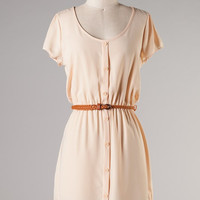 Short sleeve button down dress with a belted waist - Ivory