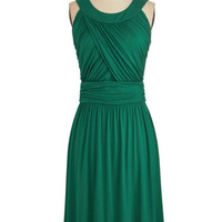 ModCloth Mid-length Sleeveless A-line So Happy to Gather Dress in Fern