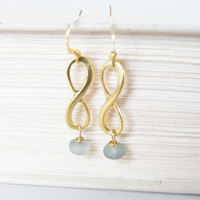 Purple Czech Gold Inifinity Earrings - Gold plated, Dangle, For Her