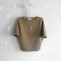 Alpaca sweater top for girls RAIN DROP, brown