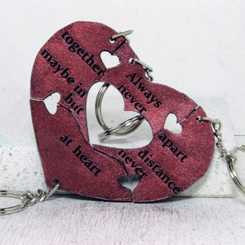 Friendship Key chains set of 4 Leather Puzzle Key chains Marsala Wine Red H32