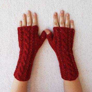 Hand-knitted Cabled Fingerless Gloves/ Wrist Warmers Red