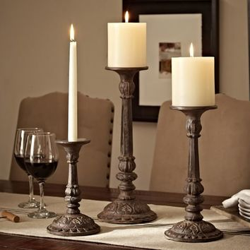 CAST BRONZE CANDLE HOLDERS