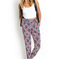 FOREVER 21 Tribal Print Pleated Pants Cream/Red Large