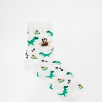 ASOS Ankle Socks With Dinosaur Caveman and Egg Design