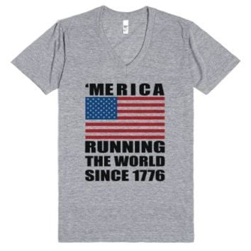 'merica running the world since 1776 vneck-Athletic Grey T-Shirt