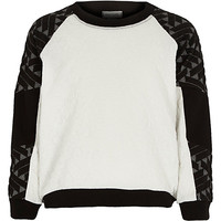 River Island Girls black mixed jacquard sweater