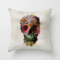 SKULL 2 Throw Pillow by Ali GULEC