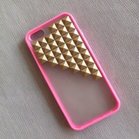 Studded iPhone 5 Case,Iphone 5 case, Antique Bronze Pyramid Studs peach pink Translucent iPhone case,Studded Cases
