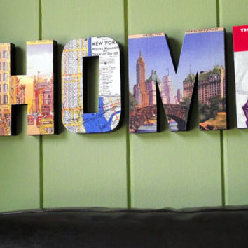 Wall Decor Wooden HOME Sign Vintage New York City Personalized Decor Custom Signage