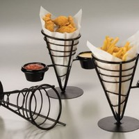 American Metalcraft FBC92 Wrought Iron 1-Cone Conical Basket with 2 Ramekins, 5-Inch