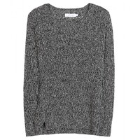 velvet - heather metallic open-knit sweater