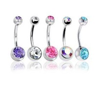 "Lot of 5 Double Gem Belly Rings Steel 14 Gauge (5 Pieces) 14G 3/8"" with 1 Belly Retainer"