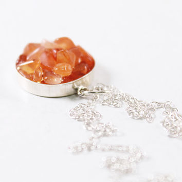 Unique sterling silver jewelry carnelian necklace