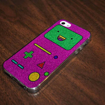 Adventure Time BMO Glitter Pink on iphone 4/4s - iphone 5/5s -samsung galaxy s3- samsung galaxy s4  case cover
