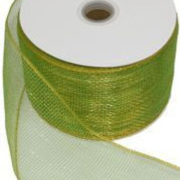 4in x 75ft Sinamay Mettalic Lime Green Ribbon/ Mesh Tape