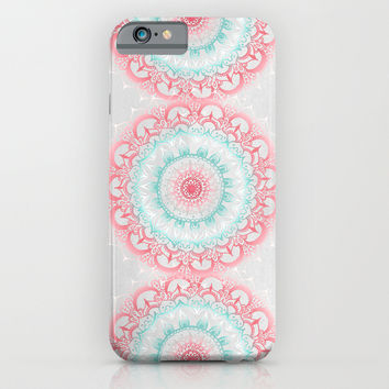 Teal & Coral Glow Medallion iPhone & iPod Case by Tangerine-Tane