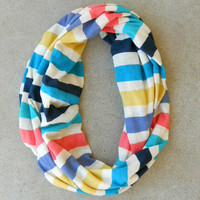 Rainbow Striped Infinity Scarf [6134] - $12.00 : Vintage Inspired Clothing & Affordable Dresses, deloom | Modern. Vintage. Crafted.