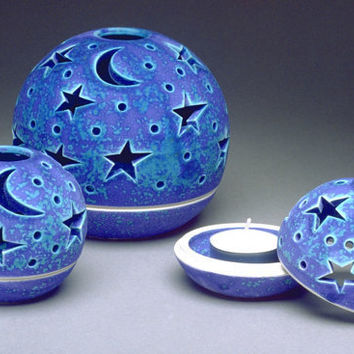 Purple Blue Ceramic Decor Mother's Day Stars by blueroompottery