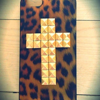Leopard print cross studded iPhone 5 case