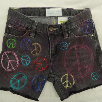Peace Sign painted Girls Jean shorts size 7slim Adjustable waist