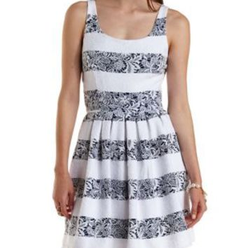 Navy Combo Striped Brocade Skater Dress by Charlotte Russe