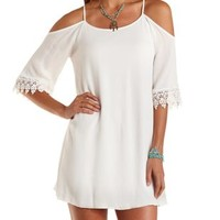 Ivory Strappy Cold Shoulder Shift Dress by Charlotte Russe