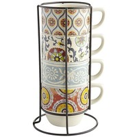 Suzani Patchwork Stacking Mugs Set