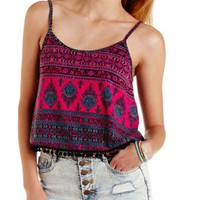 Berry Combo Pom-Pom Trim Paisley Print Tank Top by Charlotte Russe