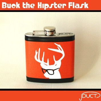 Buck the Hipster Flask by jDUCT on Etsy