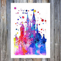 Disney Castle Watercolor Print, Cinderella Princess Castle Poster, Nursery Art, Baby Girl, Wall Art, Baby Shower, Children Watercolour Print
