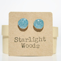 sparkle post earrings blue sparkle summer jewelry stud earrings eco fashion wood earrings Minimalist jewelry  eco friendly eco fashion